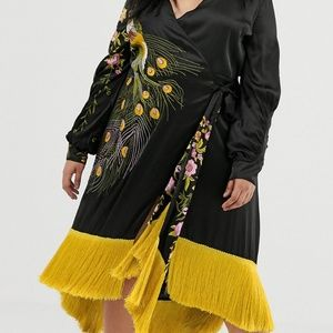 ASOS Curve embroidered peacock dress with fringe